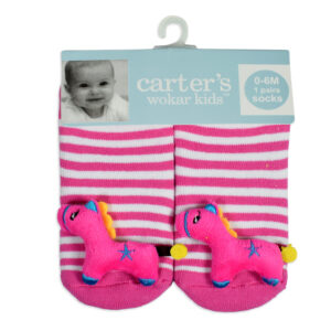Carters Anti-Skate Sock Shoes With Horse Motif - Pink-0