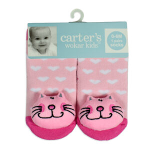 Carters Anti-Skate Sock Shoes With Cat Motif - Pink-0