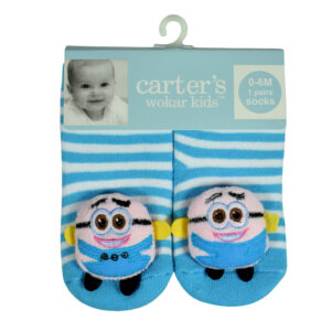 Carters Anti-Skate Sock Shoes With Minions Motif - Sky Blue-0