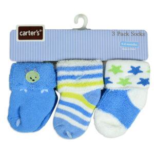 Carters Baby Socks Pair of 3 - Sky Blue-0