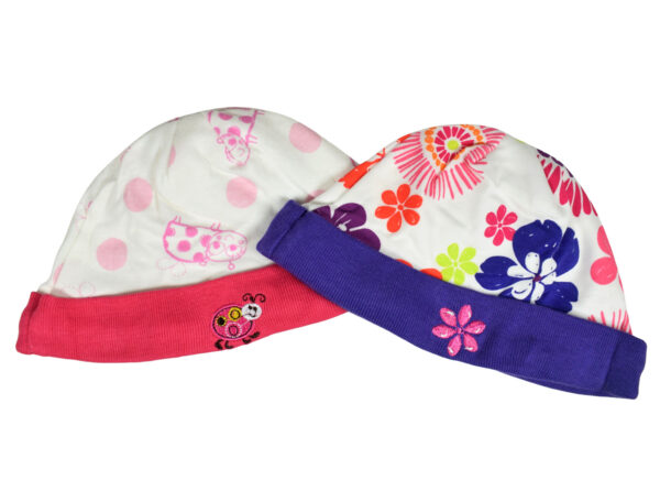 Carters Love Round Neck Cap - Pack of 2 - Violet/Peach-0
