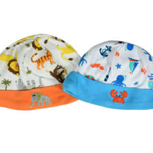 Carters Love Round Neck Cap (Animal Print) - Pack of 2-0