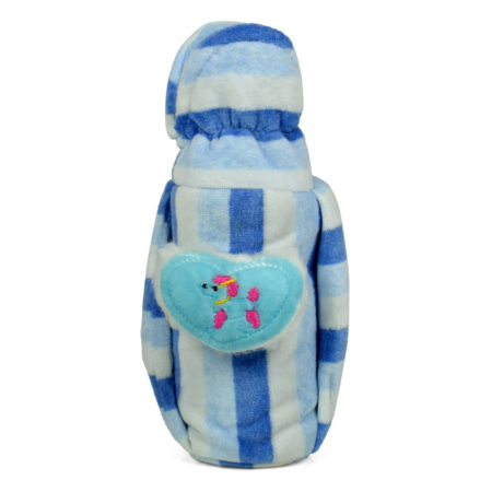 Baby Plush Feeding Bottle Cover (M) - Blue/White-0