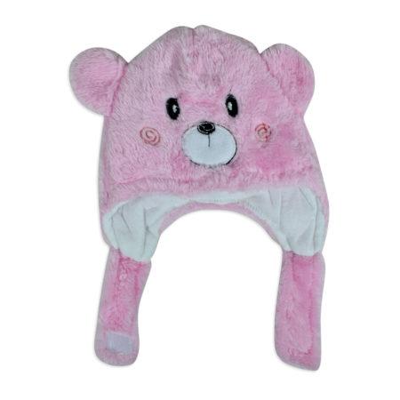 Baby Fur Winter Cap (Bear Character) - Pink-0