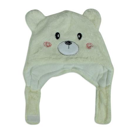 Baby Fur Winter Cap (Bear Character) - Cream-0