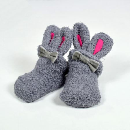 Cozie Fleece Baby Bootie - Grey-0