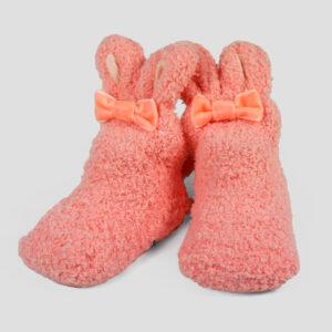 Cozie Fleece Baby Bootie - Orange-0