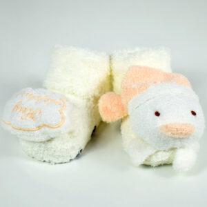 Cozie Fleece Baby Bootie (Cartoon Face) - Orange/Cream-0