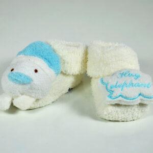 Cozie Fleece Baby Socks, Booties (Cartoon Face) - Sky Blue-0