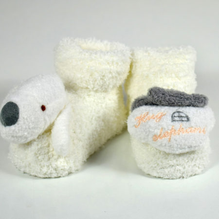 Cozie Fleece Baby Socks, Booties (Cartoon Face) - Cream/Grey-0