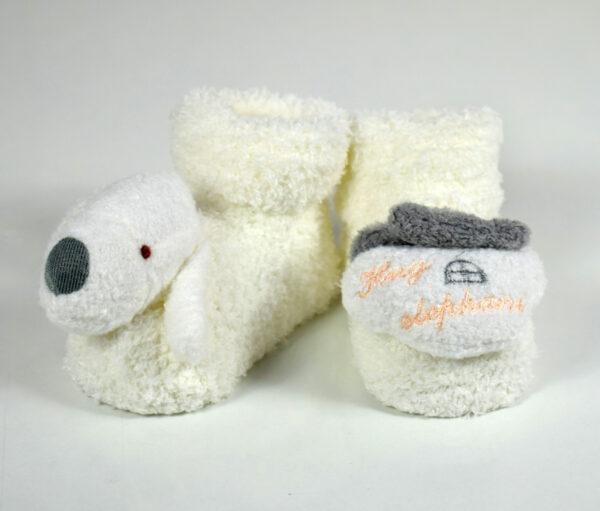 Cozie Fleece Baby Socks, Booties (Cartoon Face) - Cream/Grey-0