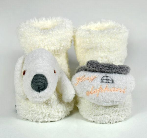Cozie Fleece Baby Socks, Booties (Cartoon Face) - Cream/Grey-18741