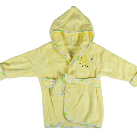 Baby Hooded Bathing Gown (Towel) - Yellow-0