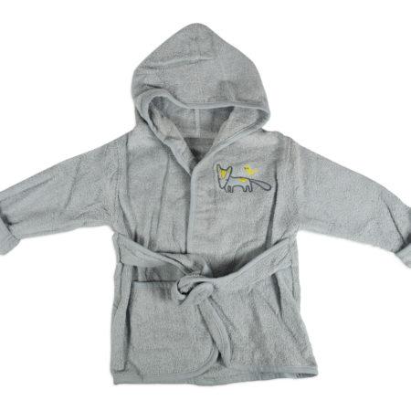 Baby Hooded Bathing Gown (Towel) - Grey-0