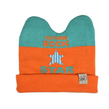 Baby Woolen Cap For Winter - Orange/Aqua-0