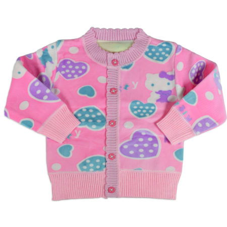 Full Sleeve Front Open Sweat Shirt - Pink-0