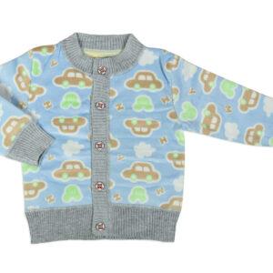 Full Sleeve Front Open Sweat Shirt (Car Print) - Sky Blue-0