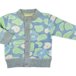 Full Sleeve Front Open Sweat Shirt (Multi Print) - Aqua/Grey-0