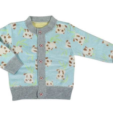 Full Sleeve Front Open Sweat Shirt (Panda Print) - Aqua/Grey-0