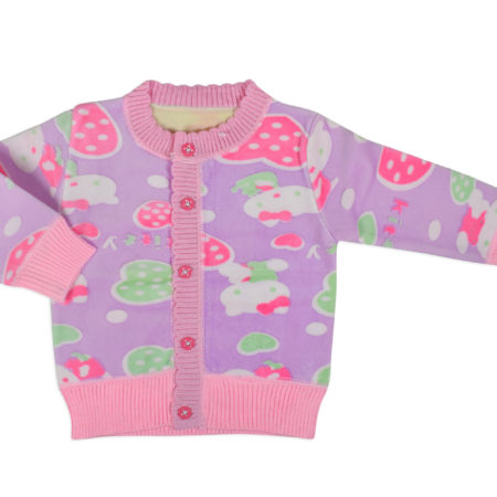 Full Sleeve Front Open Sweat Shirt (Kitty Print) - Pink-0