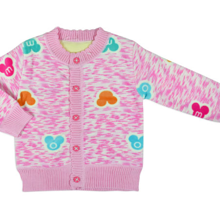 Full Sleeve Front Open Sweat Shirt (Micky Print) - Pink-0