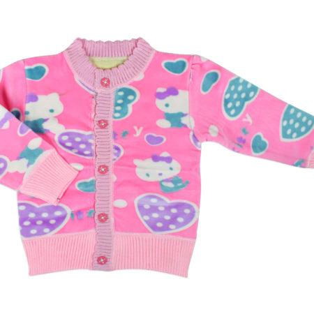 Full Sleeve Front Open Sweat Shirt (Kitty Heart) - Pink-0