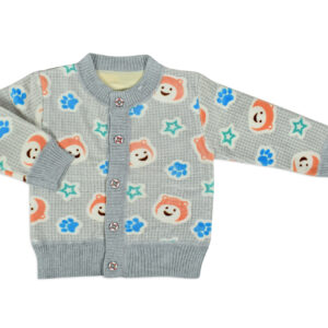 Full Sleeve Front Open Sweat Shirt (Panda Print) - Grey-0