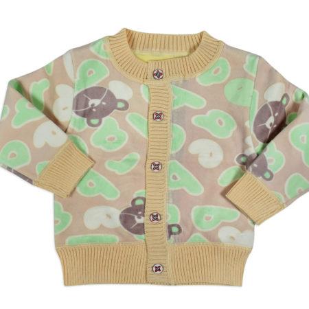 Full Sleeve Front Open Sweat Shirt (Multi Print) - Tan-0