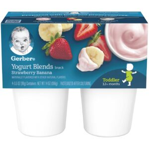 Gerber Yogurt Blends Snack, Strawberry Banana, 99gm Cups, 4 Count-0