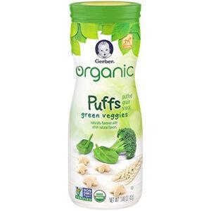 Gerber Organic Puffs Cereal Snack, Green Veggies - 42 gm-0