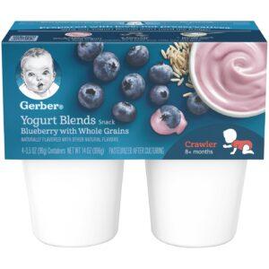 Gerber Yogurt Blends Snack Blueberry with Whole Grain Yogurt 4-99gm Cups-0