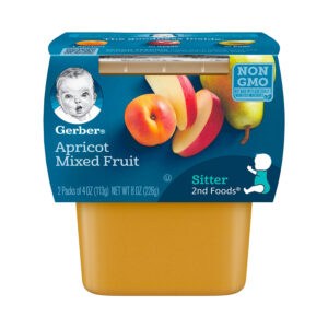 Gerber 2nd Foods Apricot with Mixed Fruit Baby Food, 113gm Tubs, 2 Count-0