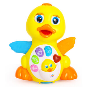 Huile Flapping Yellow Duck With Flashing Lights, Music & Universal Wheel-0