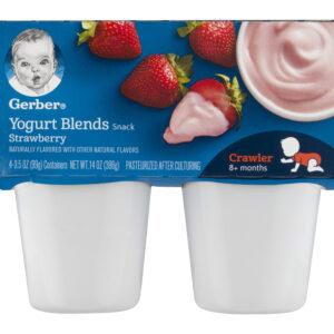 Gerber Yogurt Blends Snack Strawberry Yogurt 4-99gm Cups-0
