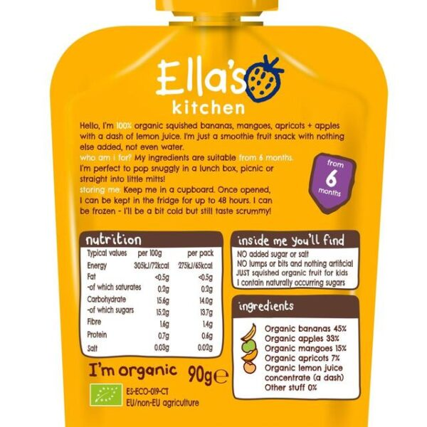 Ellas Kitchen Organic Smoothie Fruits The Yellow One Single (6M+) - 90g-21682
