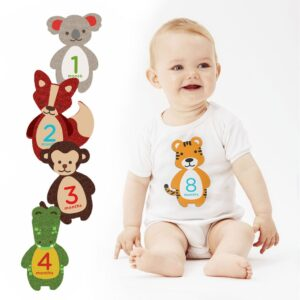 Pearhead First Year Felt Belly Stickers Animal Motifs - Pack of 12 Stickers-0