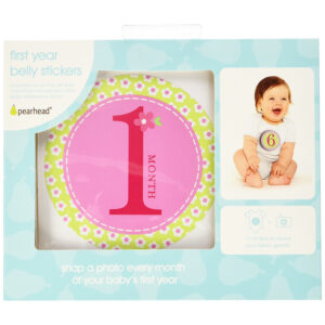 Pearhead Baby Milestone Stickers, Pink-0