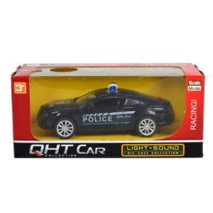 Light + Sound Pull Back Police Racing Car - Black-0