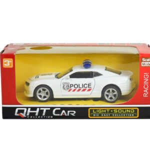 Light + Sound Pull Back Police Racing Car - White-0