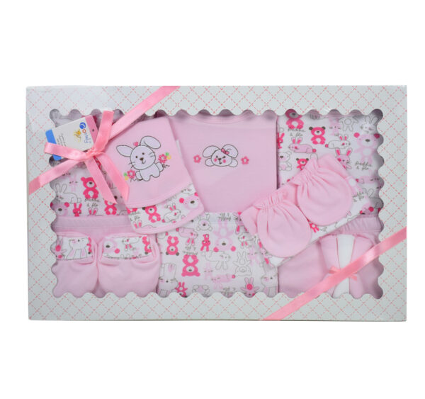 Montaly 14 Pieces New Born Gift Set - Pink -0