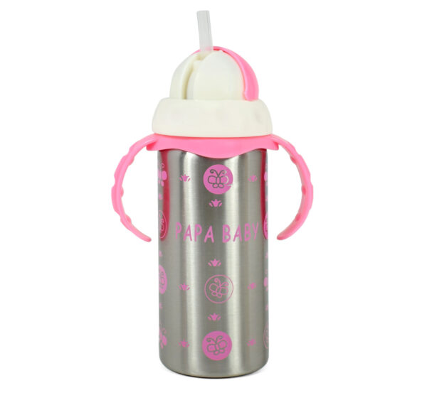 Papa Baby Multipurposable Steel Feeding Bottle - Pink-21751