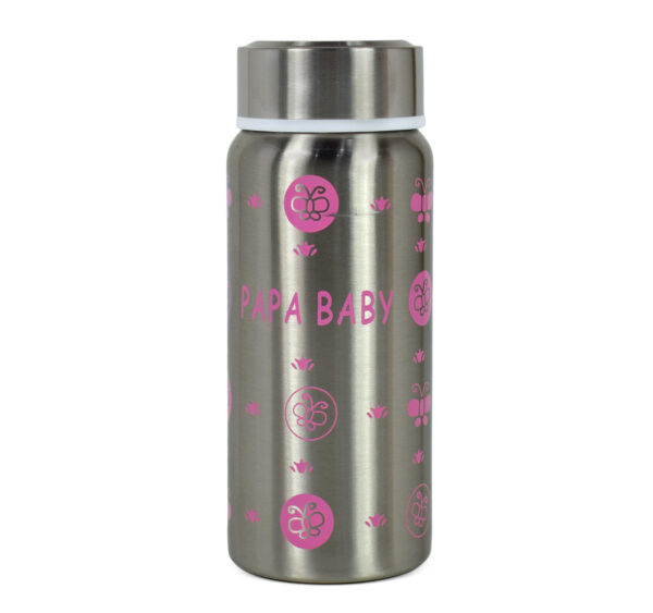 Papa Baby Multipurposable Steel Feeding Bottle - Pink-21752