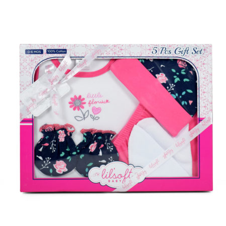 New Born Baby Gift Set, 5 Pieces - Pink-0