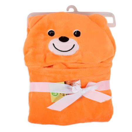 Very Soft Baby Hooded Blanket (Bear) - Orange-0