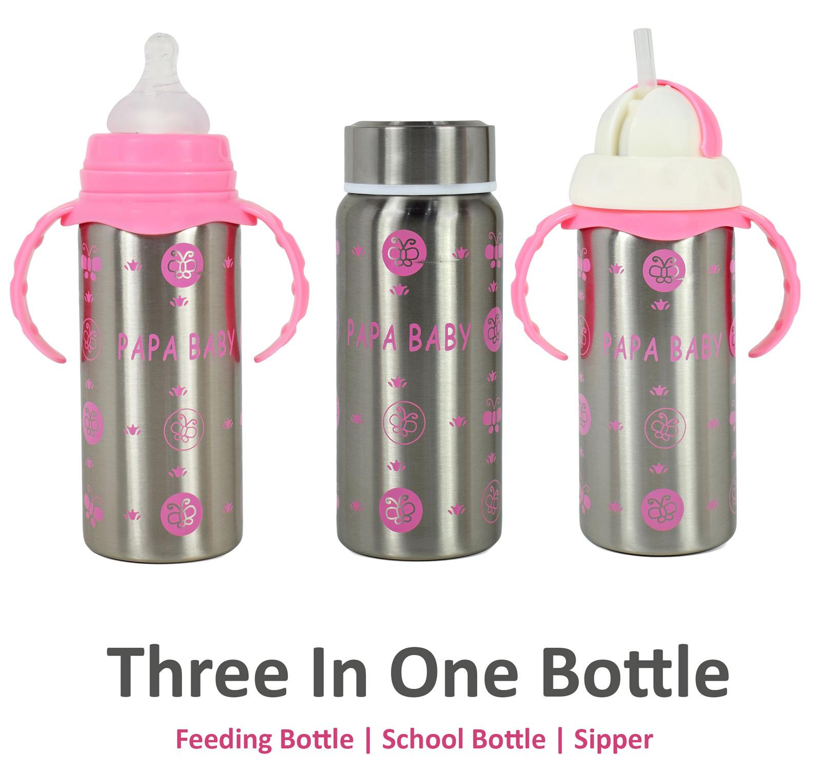 Papa Baby Multipurposable Steel Feeding Bottle - Pink-0
