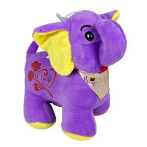 Stuffed Cuddly Elephant Plush Toy, Hangable Soft Toy (Purple) - 8 Inch-0