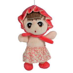 Stuffed Cuddly A Cute Doll Plush Toy, Hangable Soft Toy (Peach) - 8 Inch-0