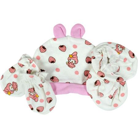 Baby Cotton Caps, Mittens & Booties (0-6M) - Pink-0