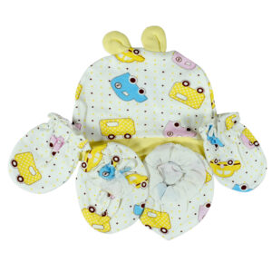 Baby Cotton Caps, Mittens & Booties (0-6M) - Yellow-0