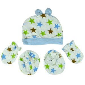 Baby Cotton Caps, Mittens & Booties (0-6M) - Sky Blue-0